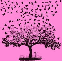 Crows in a tree pink